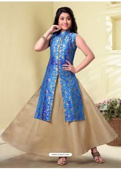 Girls Blue And Beige Silk Skirt Kameez