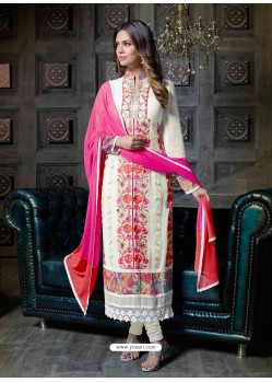 Off White Georgette Churidar Suit