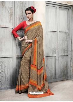 Orange Silk Casual Saree