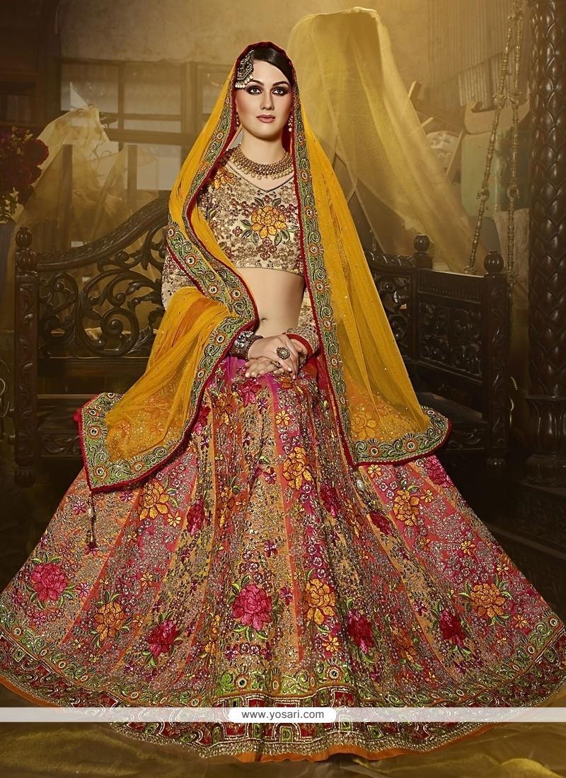 Beautiful Art Silk Multi Colour Patch Border Work A Line Lehenga Choli