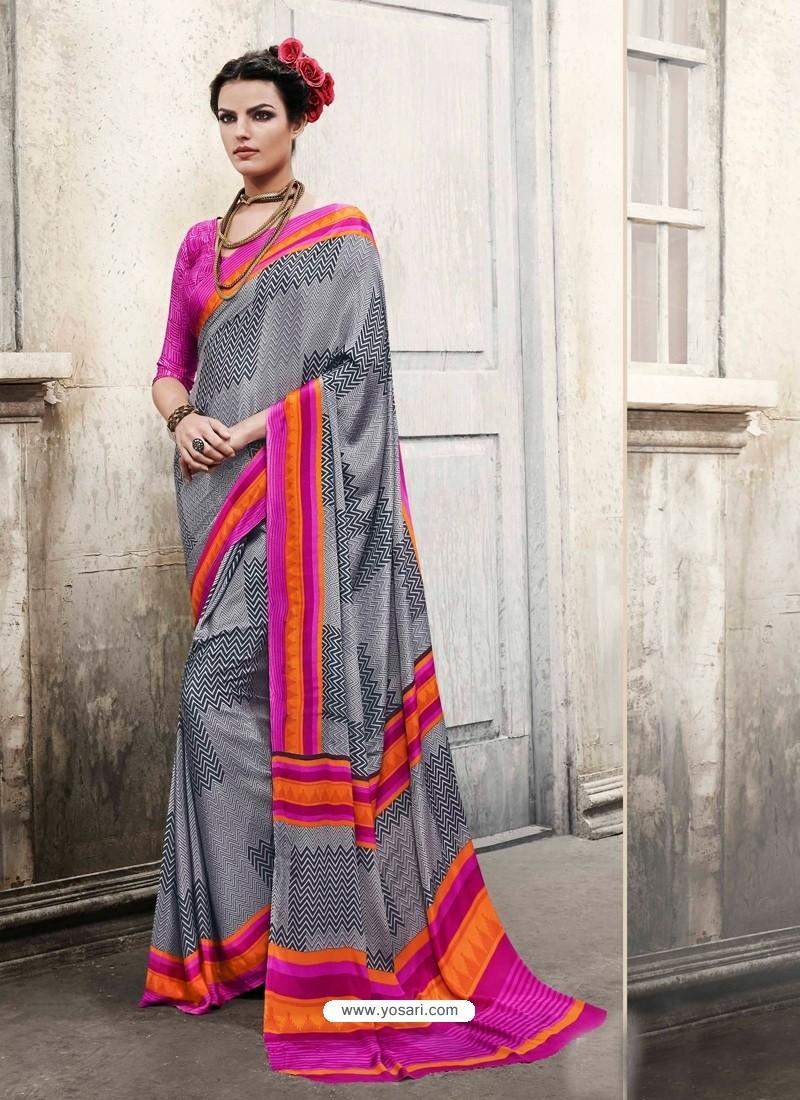 Pink And Grey Silk Casual Saree