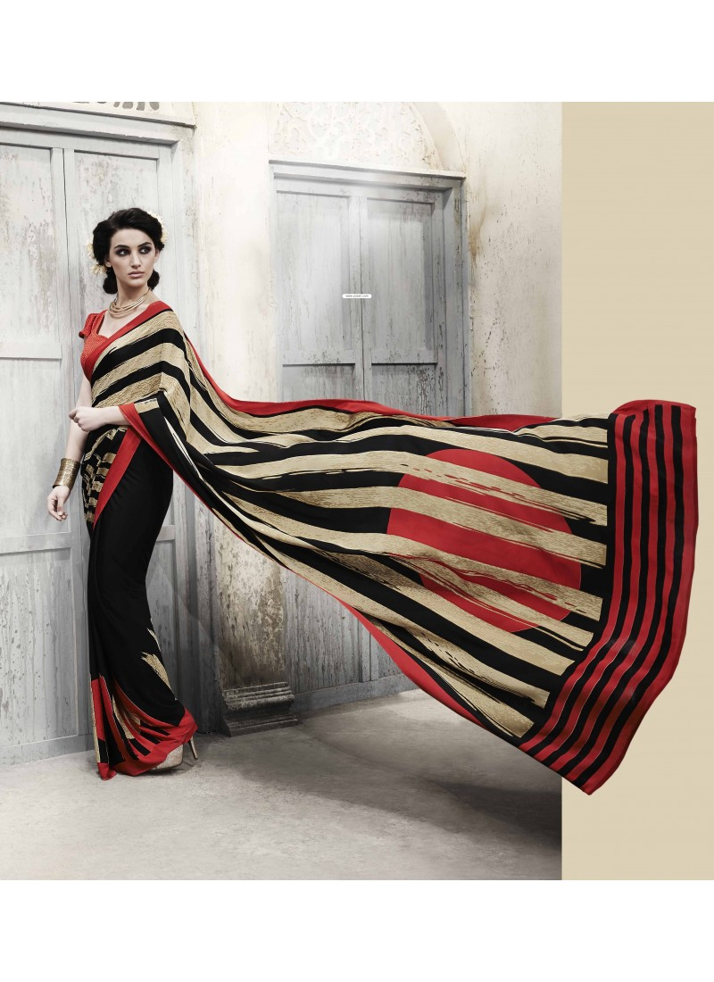 Orange And Black Silk Casual Saree