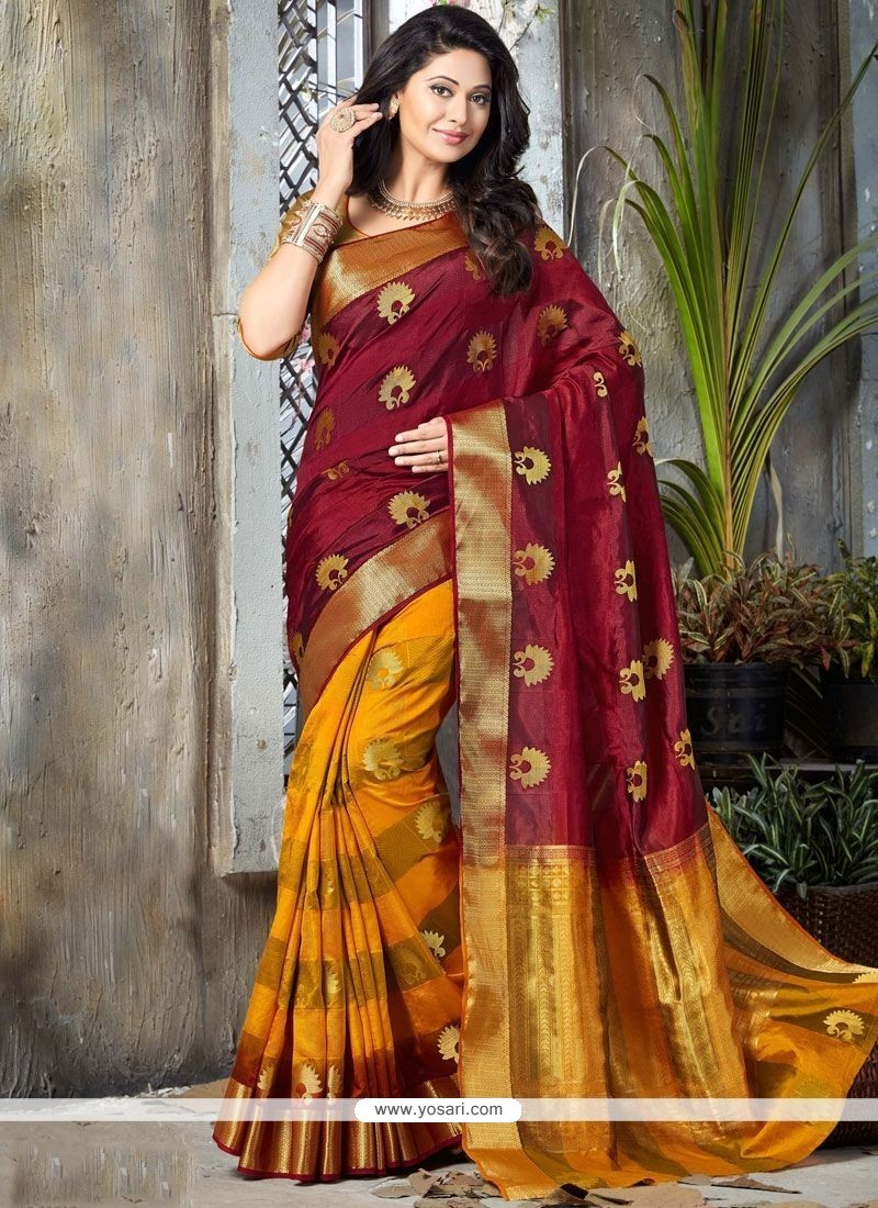 0ea224f356 Buy Excellent Art Silk Maroon And Yellow Traditional Designer Saree ...