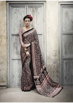 Brown Shade Silk Casual Saree