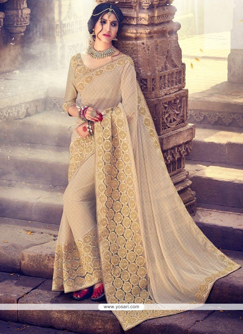 ffc2158b85 Buy Fashionable Beige Fancy Fabric Classic Designer Saree | Wedding ...
