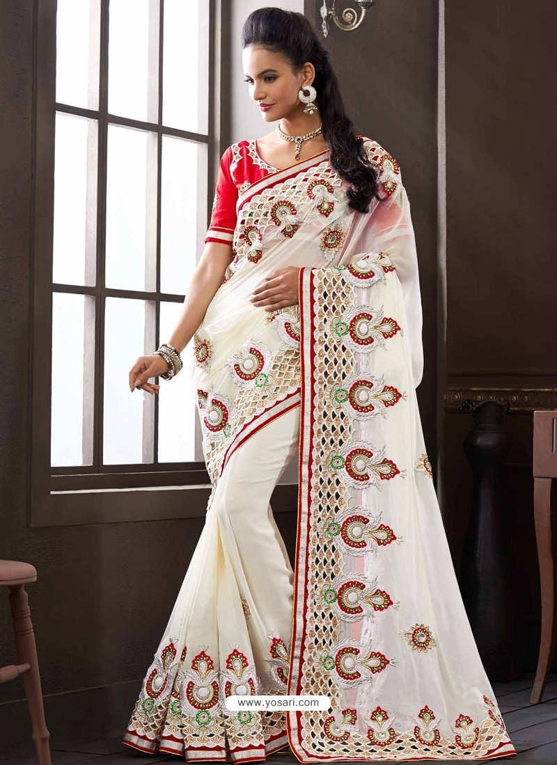 Red And White Bemberg Designer Saree