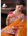 Orange Georgette Designer Saree