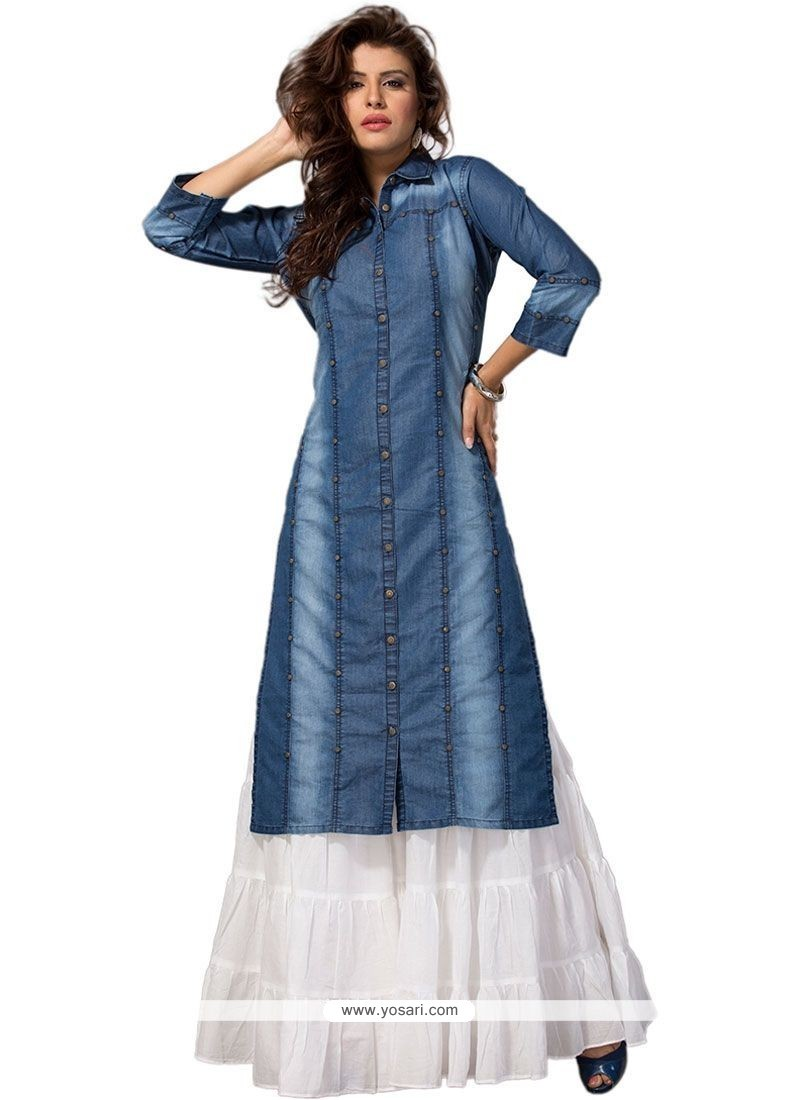 Buy Catchy Plain Work Blue Denim Party Wear Kurti | Party Wear Kurtis