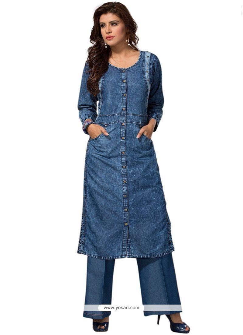 Buy Plain Denim Party Wear Kurti In Blue   Party Wear Kurtis