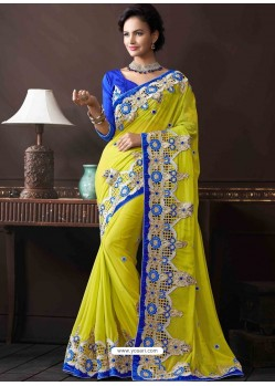 Pink And Light Green Bemberg Designer Saree