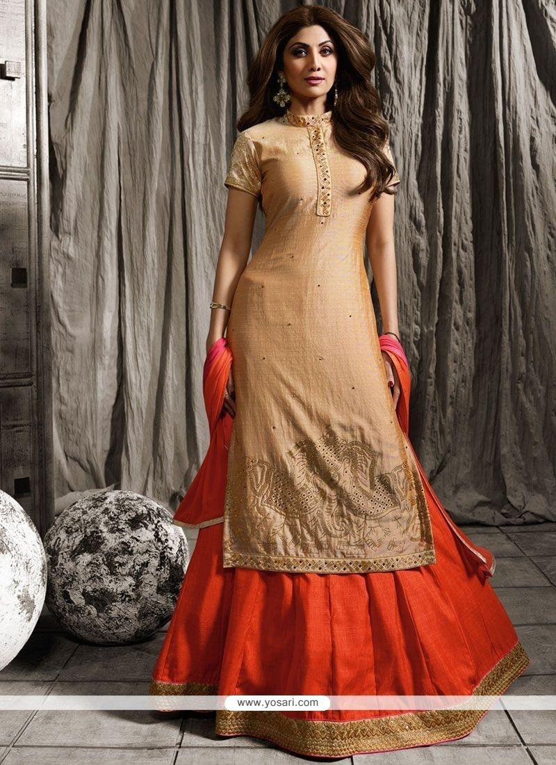 Buy Shilpa Shetty Beige And Orange Long Choli Lehenga   Designer ...