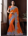 Orange Shade Jacquard Designer Saree