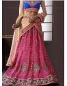 Cream And Pink Net Designer Lehenga Choli