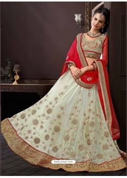 Red And Cream Net Designer Lehenga Choli