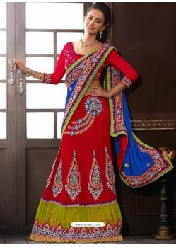 Multicolor Velvet Designer Lehenga Choli
