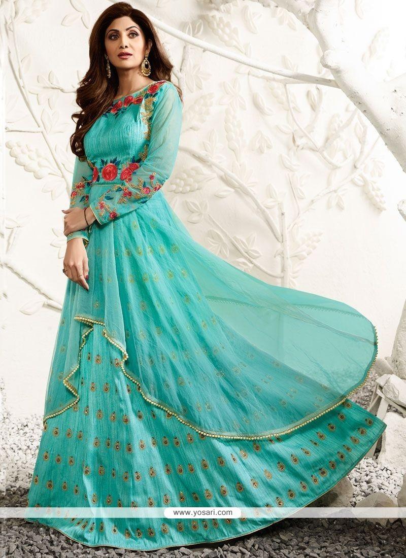 Buy Shilpa Shetty Raw Silk Floor Length Anarkali Suit   Anarkali Suits