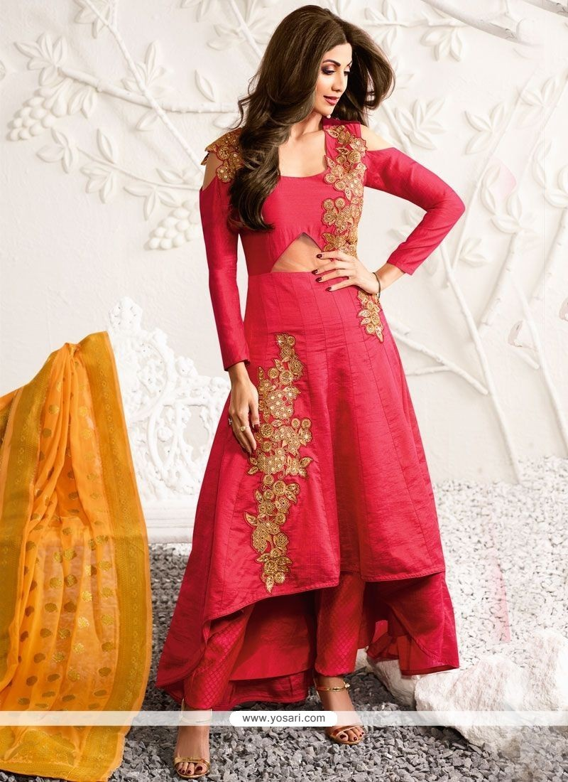 Buy Shilpa Shetty Resham Work Hot Pink Designer Suit Wedding Suits