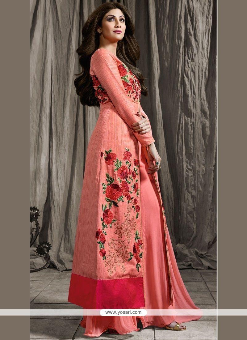 Buy Shilpa Shetty Embroidered Work Designer Palazzo Suit   Anarkali ...