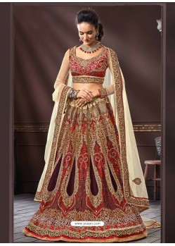 Cream And Maroon Net Designer Lehenga Choli