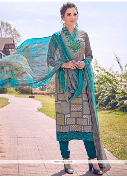 Whimsical Cotton Multi Colour Print Work Designer Straight Suit