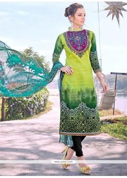 Lovable Print Work Cotton Multi Colour Designer Straight Suit