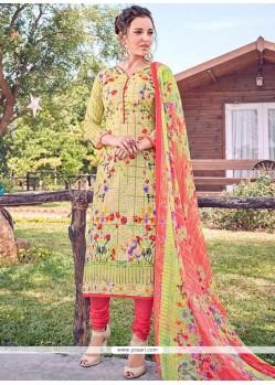 Tiptop Print Work Cotton Multi Colour Designer Straight Suit