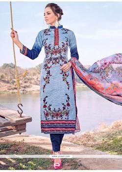 Aristocratic Blue Print Work Cotton Designer Straight Suit