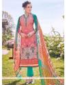 Staggering Pink Print Work Cotton Designer Straight Suit