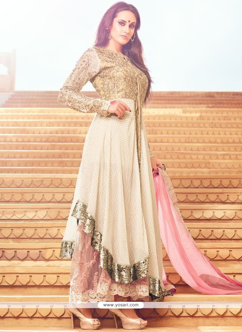 Riveting Art Silk Cream And Pink Resham Work Anarkali Salwar Suit