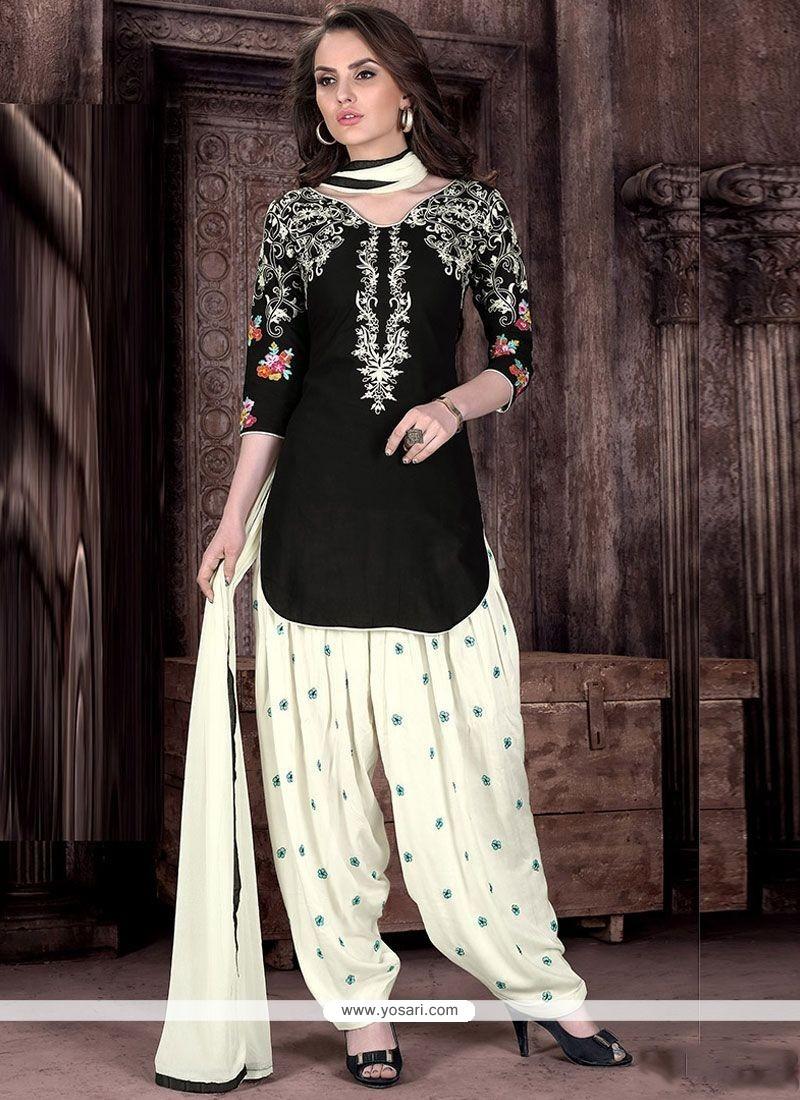 Phenomenal Cotton Black And White Designer Patiala Suit