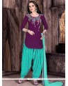 Astonishing Purple And Turquoise Designer Patiala Salwar Kameez