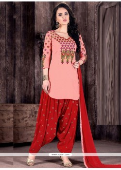 Peach And Red Cotton Designer Patiala Suit