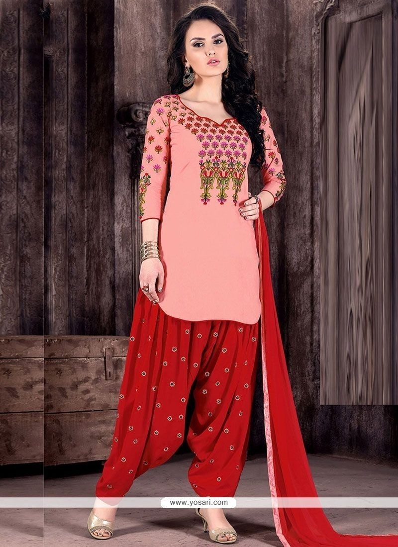 febbdb3100 Buy Peach And Red Cotton Designer Patiala Suit | Punjabi Patiala Suits
