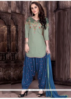 Tempting Cotton Resham Work Designer Patiala Suit