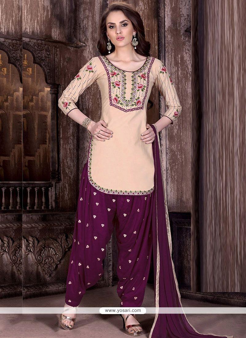 Gratifying Cotton Resham Work Designer Patiala Suit