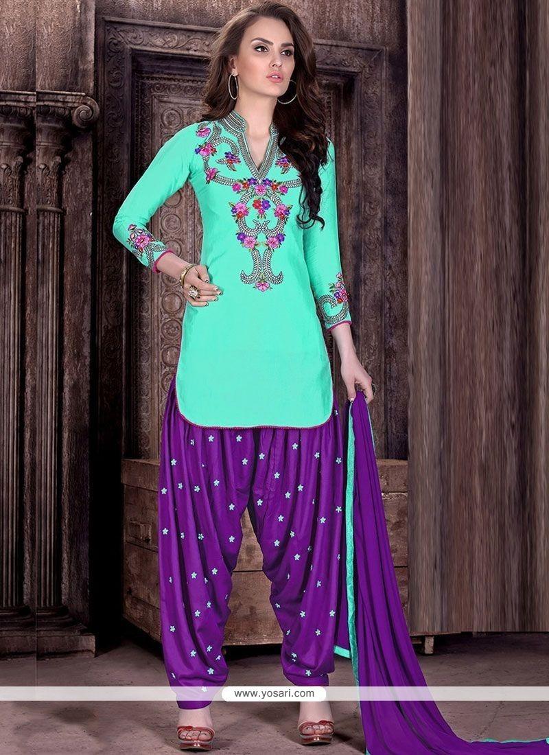 Buy Unique Cotton Embroidered Work Designer Patiala Suit | Punjabi ...