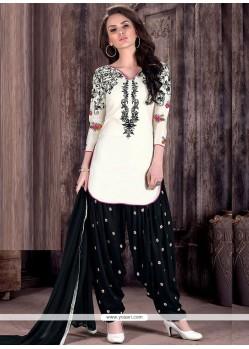 Unique Embroidered Work Black And White Designer Patiala Suit