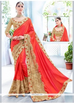 Delightful Patch Border Work Orange Art Silk Traditional Saree