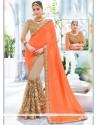 Versatile Patch Border Work Designer Half N Half Saree