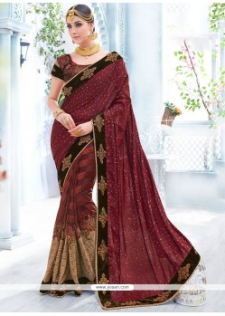 Modern Net Patch Border Work Shaded Saree