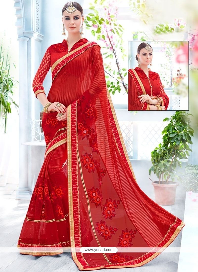 Refreshing Lycra Red Designer Saree
