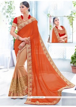 Deserving Net Beige And Orange Patch Border Work Half N Half Designer Saree