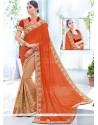Deserving Net Beige And Orange Patch Border Work Half N Half Designer Saree
