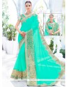 Miraculous Embroidered Work Turquoise Faux Georgette Classic Designer Saree