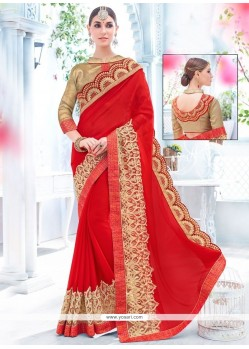 Majesty Faux Chiffon Embroidered Work Classic Saree