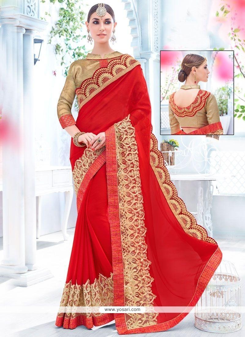 Majesty Faux Chiffon Embroidered Work Classic Saree
