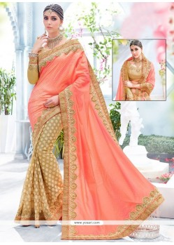Entrancing Patch Border Work Peach Fancy Fabric Designer Half N Half Saree