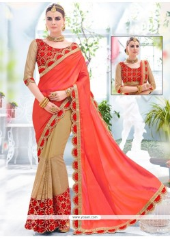 Sophisticated Patch Border Work Beige And Red Fancy Fabric Half N Half Saree