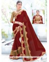 Fabulous Fancy Fabric Embroidered Work Designer Saree