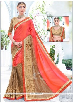 Vivid Beige And Peach Saree